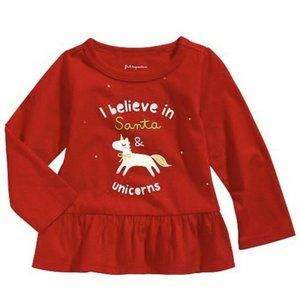 First Impressions Baby Unicorn Holiday Shirt, 0-3M